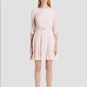 Ted Baker Pink Embroidery feay Dress